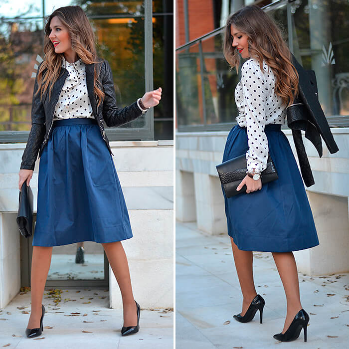 Frill navy blue skirt