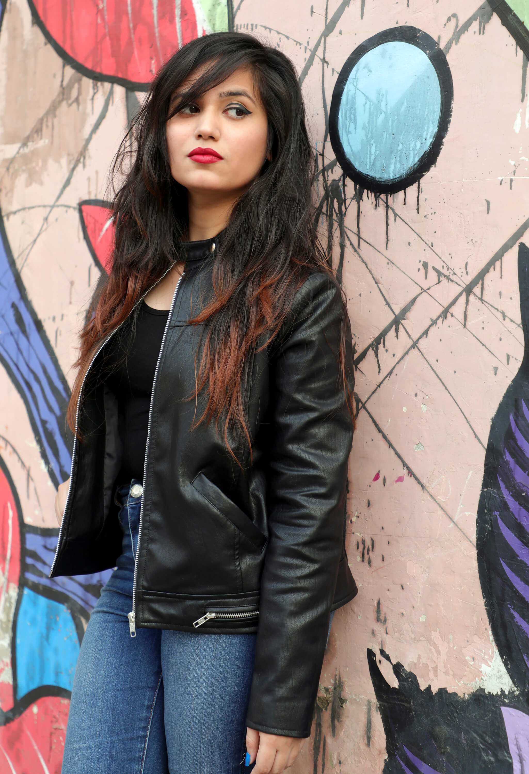 Anjali Dixit in leather jacket